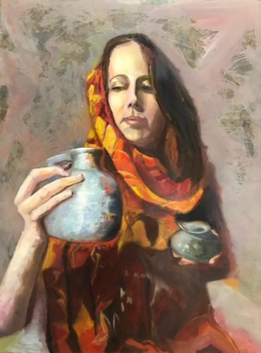 vrouw met rode sari 2
